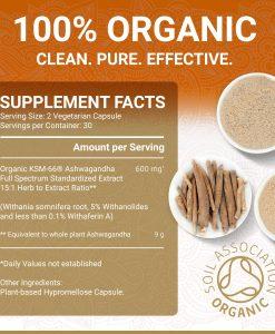 True Veda Organic Ashwagandha Supplement Facts