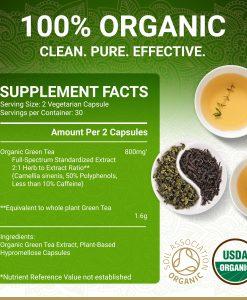 True Veda Organic Green Tea Extract Supplement Facts