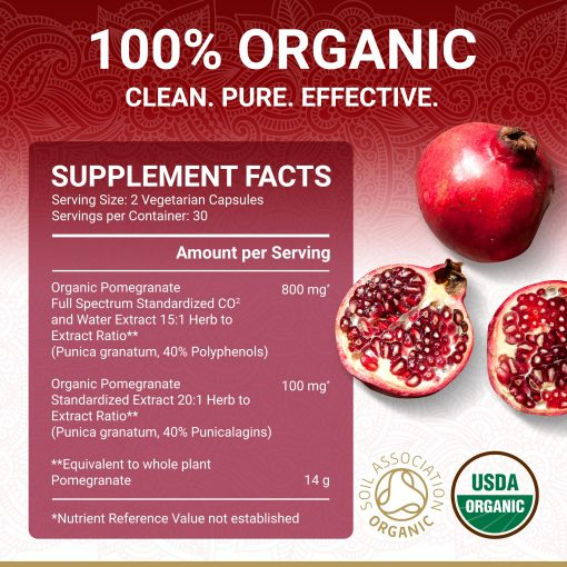 True Veda Organic Pomegranate Extract Supplement Facts